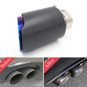 Universal 63mm-89mm Car Exhaust Muffler Tip Pipe Carbon Fiber Burnt Steel Blue