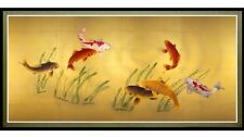 Feng Shui 7 Lucky Koi Fish In Pond Picture Wall Art Decor Framed Canvas Print