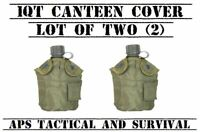NEW 2 Pack Tactical Military 1qt Canteen COVER w Alice Clips & Pouch OD GREEN