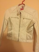 "Girls size 10-12 ""B Collection"" white Bomber Jacket"