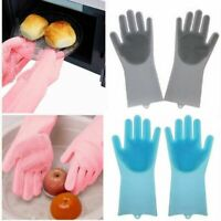 Magic Silicone Gloves Dishwashing Glove Scrubber for Washing Dish, Kitchen, Bath