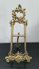 """Ornate Metal Brass Color Easel Picture Plate Display Stand 12-1/2"""" H"""