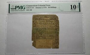 1775 Twenty Shillings Connecticut CT Colonial Currency Bank Note Bill PMG 20s