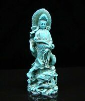 Collectible Old Decorated Turquoise Kwan-yin Guan yin Ruyi Dragon Statue Buddha