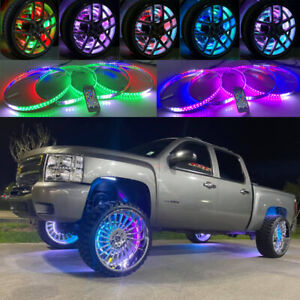 "17.5"" IP68 Wheel Well Rims x4PCS Rings Lights For Truck Dream Color CHASING FLOW"
