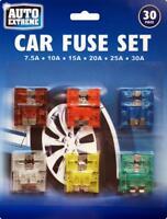 30 Assorted Standard Blade Car Fuse Set 7.5A 10A 15A 20A 25A 30A - 30 VAN fuses