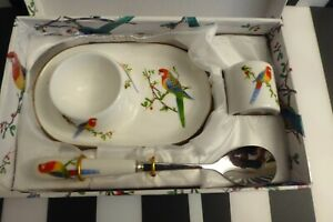 PRETTY PARROT MOTIF EGG CUP & SPOON SET WITH SALT POT - NEW IN BOX