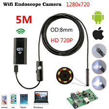 5M 6LED HD 720P Waterproof WiFI Borescope Inspection Endoscope Snake Tube Camera