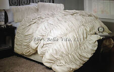NEW 4pc LUXURIOUS ELEGANT BEAUTIFUL RUCHED CINCHED IVORY QUEEN COMFORTER BED SET