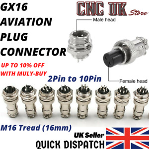GX16 Aviation Plug 2Pin To 10pin 16mm Metal Male+Female Panel Cable Connector