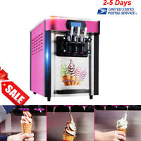 Automatic Ice Cream Cones Machine Soft Serve Frozen Yogurt Maker 3 Flavors USPS