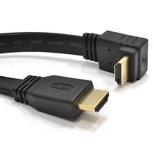 3m Ángulo Recto HDMI plano alta velocidad cable para 3D TV 1.4 Plomo Oro [008182]