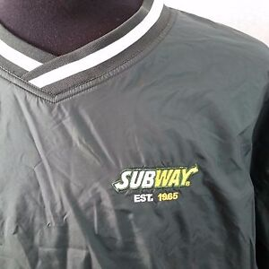 Subway Sandwiches Mens Large Green Golf Jacket Pullover Windbreaker Work Uniform