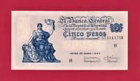 5 PESOS 1958-59 ARGENTINA (XF) NOTE SERIES H (P-264a.6) Sign: Ditaranto & Barnet