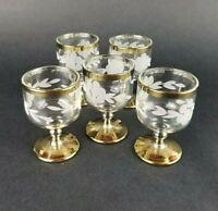 Vintage Etched Crystal Cordial Glasses Gold Rim Lot of 5