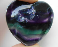 Large AA Grade Rainbow Fluorite Crystal Heart - 40mm - Gemstone, Worry Stone