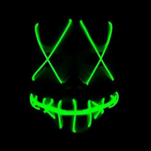 Halloween Cosplay Face Cover Mask LED EL Wire Party Smiling Stitched Light Up