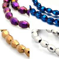 """16"""" Strd Full Plated Faceted Glass Beads Oval Tiny Loose Beads Beading Craft 6mm"""