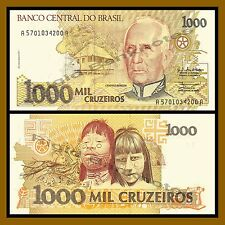 P-238 UNC/>Hummingbird Lot 5 PCS Brazil 100 Cruzeiros on 100000 1993 ND