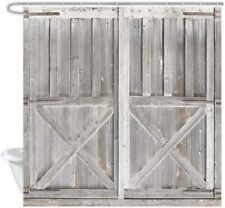 Barn Door Rustic Wood Gray Farmhouse Fabric Shower Curtain