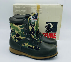 Vintage Wolverine Boots Waterproof Green Camo 9.5 M Gore-Tex NOS 03724