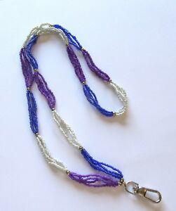 Spirit of Nature Lanyard/ID holder- seed beads purple blue white