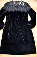 HALLHUBER wunderschönes Etuikleid Kleid Gr. 42 / UK 14 neu Samt Spitze Schwarz