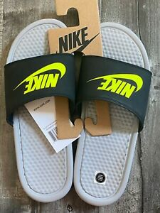 NEW NIKE BENASSI JDI FLIP FLOPS SANDALS BREAK SLIDES GRAY VOLT BLACK SZ 7