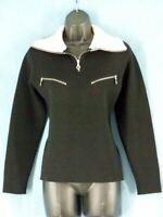 S M GIORGIO ARMANI NEVE Black Ivory Virgin Wool Sweater Knit Collar Pockets Zip