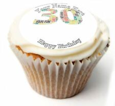 Happy 30th Birthday Cupcake Toppers; x20 Rice Paper or Icing, Personalised. 19