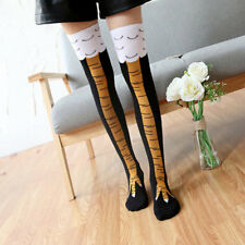 Women Men Novelty Funny 3D Chicken High Socks Cartoon Animals Thigh Stockings H