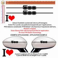 adesivi specchietti fiat 500 nero I LOVE 500 black Wing Mirror Sticker  4 pz.