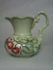 Beautiful Handpainted Pitcher With Apples, Leaves And Branches Signed