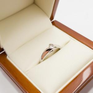 10CT 0.1CT Diamond White Gold Solitare Ring Size M1/2 #53707