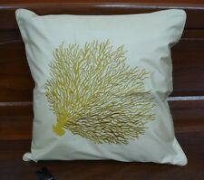 JIM THOMPSON THAI SILK CUSHION COVER EMBROIDERY GOLD CORAL ON LIGHT BROWN SILK