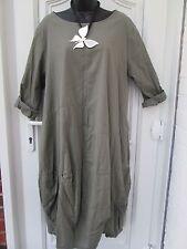 New Italian Lagenlook khaki green  Cotton Dress   One size 14 16 18 20 46 Bust