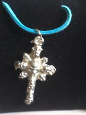 """Skull Cross TG277 Fine English Pewter On 18"""" Blue Cord Necklace"""