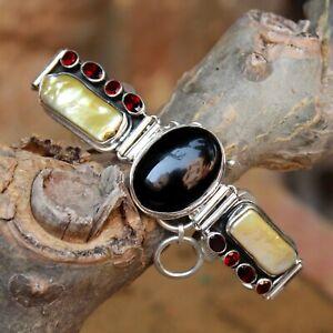 Viva Pearl Black Onyx & Garnet Gemstone Bracelet 925 Sterling Silver Jewelry