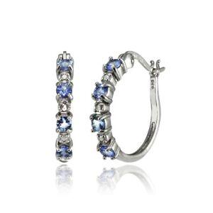 Sterling Silver Tanzanite 20mm Round Hoop Earrings