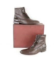 Mezlan Mercato Italian Calfskin Cordovan Leather Side Zip Boots Brown Mens 9.5