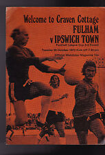 Fulham v Ipswich Town FL Cup 3rd Rd Program October 30 1973 Craven Cottage