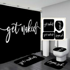 Get Naked Black Shower Curtain Bath Mat Toilet Cover Rug Bathroom Decor