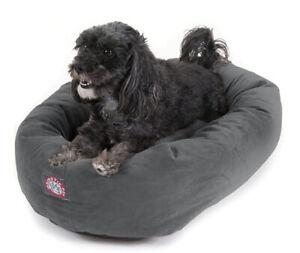 "Majestic Pet 24"" Gray Velvet Bagel Dog Bed Pet Bed"