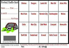 10 x Football Fundraising A6 Raffle Cards / Scratch Cards (20 UK Teams) New