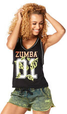 Zumba Queen Cropped Jersey Tank Racerback Shirt Top ~Back to Black Z1T01236