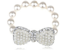 Clear Crystal Rhines Bracelet Gift Fashion Synthetic Pearl Beads Silver Bow-Tie