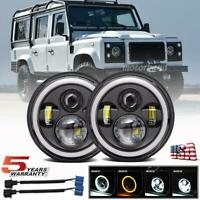 Pair 7 inch LED Round Headlights HI/LO Halo For Land Rover Defender 110 90 Rover