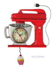"Funky RED ""Vintage Mixer"" Cafe Designer Wall Clock by Allen Designs"