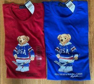 Polo Ralph Lauren Mens BEAR USA HOCKEY LOGO T Tee Shirt Crewneck Brand New Tags