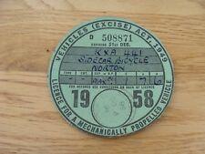 Original Vintage norton sidecar  Bicycle Tax Disc december  1958